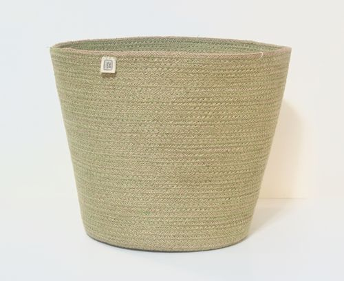 Jute basket ZARA with green pattern