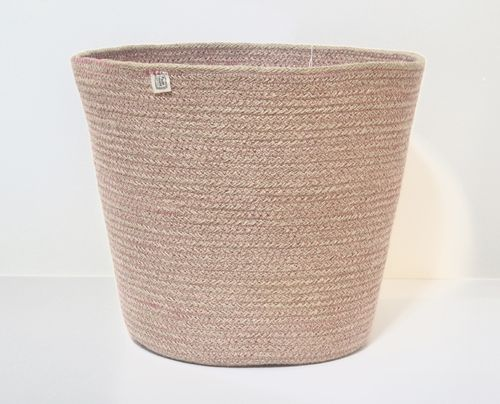 Jute basket ZARA with pink pattern